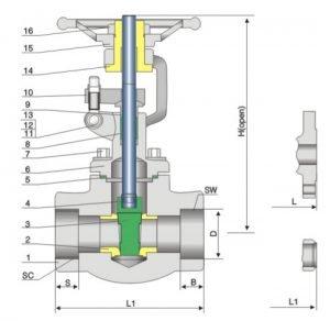 forged steel gate valve 800lb